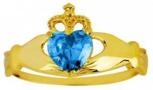 Kleine Schätze - Damen Ring/Verlobungsring/partnerring 10 Karat Gold Monatsstein Claddagh Ring Blau Topas
