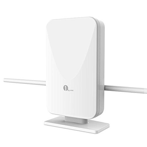 1byone Antenne TNT Extérieur, 100km Range Antenne TV Puissante Digitale pour HDTV / Récepteurà TV HD, VHF / UHF / FM, Signaux Analogues TV, Filtre...