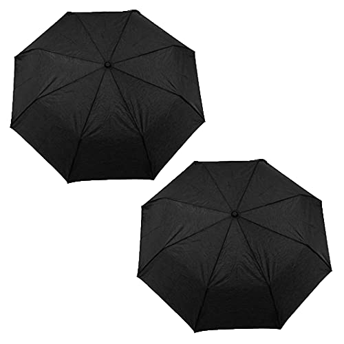 """2-Pack Nautica 3-Section Auto Open Umbrella - Sturdy Rainy Day Protection with Ergonomic Rubber Coated Clip Handle, 42"""" of Coverage (Black)"""