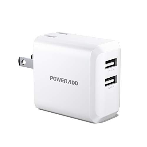 POWERADD USB Wall Charger,24W Dual Port 5V/2.4A Charger Slim Adapter with Foldable Plug and SmartID Technology, invisible Light for iPhone XR/XS/X/XS Max/Plus,iPad Pro Air/Mini, Samsung S4/S5 and More
