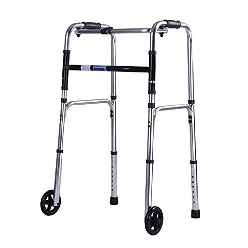 HKX Cubierta Walker, Walker, Plegable balanceo Andador Walker con 2 Ruedas, Andador Ayuda a la Movilidad - Ligero y de Altura Ajustable - Muleta Apoyabrazos para Ancianos bariátrica para Adultos