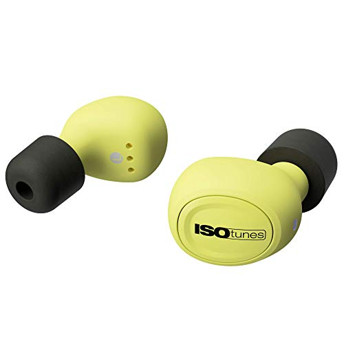 ISOtunes FREE True Wireless Earplug Earbuds, 22 dB Noise Reduction Rating, 21 Hour Battery, Noise Cancelling Mic, OSHA Compliant Bluetooth Hearing Protector (Safety Yellow)