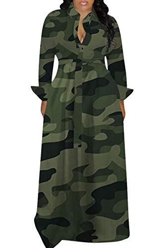 Women Sexy Long Sleeve Maxi Dress Elegant Camo Button Down V Neck Aline Swing Dresses Plus Size Clubwear Fall Outfits