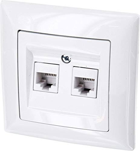 Preisvergleich Produktbild UP Netzwerkdose CAT6 2-fach - All-in-One - Rahmen + Unterputz-Einsatz + Abdeckung (Serie G1 reinweiß)