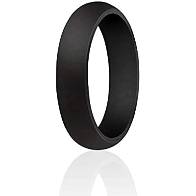 ThunderFit Silicone Ring Wedding Band for Women - 1 Ring (Black, 3.5-4 (14.9mm))