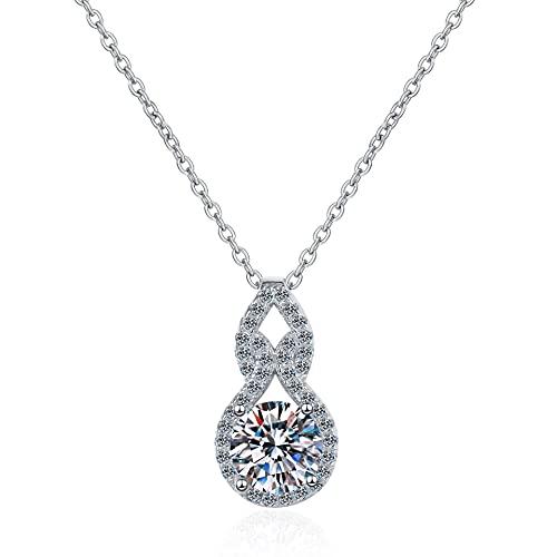 Kkoqmw Collar de Diamantes de Plata de Ley 925, Colgante de 1 Quilates, Collar de Diamantes para Mujer