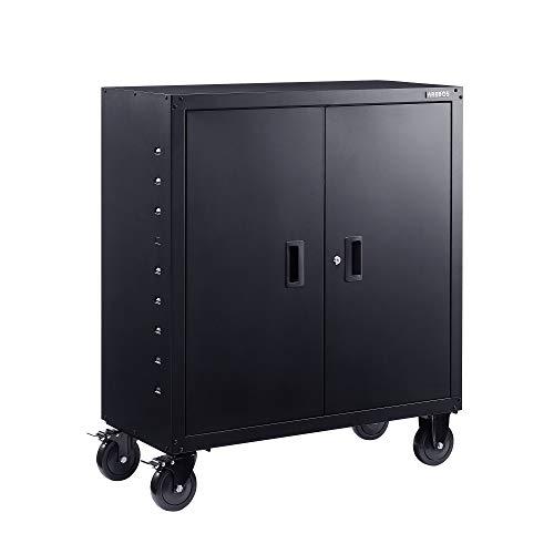 Arebos - Armadio portadocumenti da ufficio | 105,5 x 40 x 90 cm | 2 ante | con ruote | ripiano regolabile in altezza | con serratura a cilindro