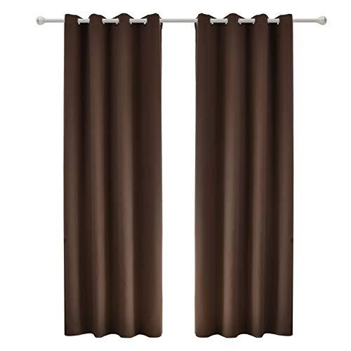 WOLTU #488-2, 2 x Gardinen Vorhang Blickdicht mit Ösen, 2er Set leichte & weiche Verdunklungsvorhänge für Wohnzimmer Schlafzimmer Tür, 135x225 cm, Braun