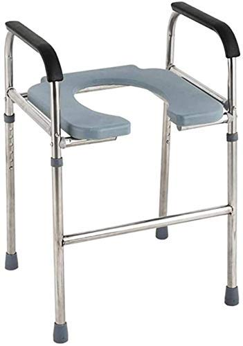 Z-SEAT Kommodenstuhl, mobiler Toilettensitz, höhenverstellbarer/Toilettensitz mit Armlehnen, behindertengerechter/älterer Toilettensitz, rutschfest, Bezug, gepolsterte