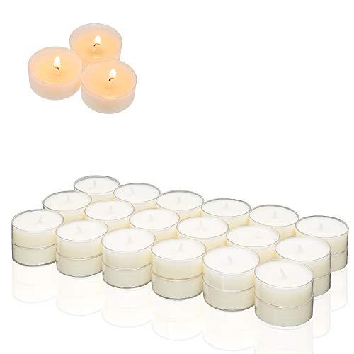 Smart Planet® Kerzen Ambiente - 36 Teelichter Set Weiss - Teelicht in transparenter Kunststoff Hülle durchsichtig - Kerze mit Langer Brenndauer