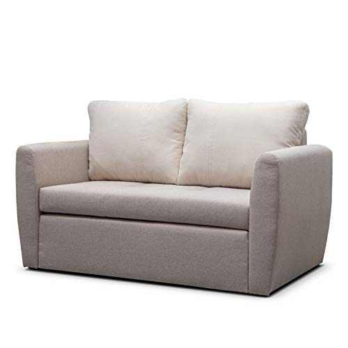 mb-moebel Sofa mit Schlaffunktion Klappsofa Bettfunktion mit Bettkasten Couch Sofagarnitur Salon Jugendzimmer SARA 120 (Cappuccino)