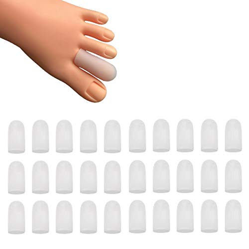 30 Pieces Gel Toe Caps, Silicone Toe Protector, Toe Covers, Protect Toe from Rubbing, Ingrown Toenails, Corns, Blisters, Hammer Toes and Other Painful Toe Problems (Small,White)