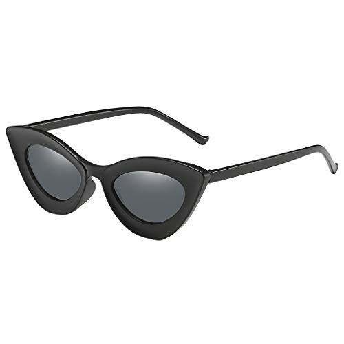 Gafas de sol vintage para mujer, estilo retro con montura pequeña UV400, gafas de sol para mujer Negro L