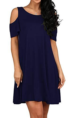 QIXING Women's Casual Plain Short Sleeve Simple T-Shirt Loose Dress Navy Blue-L