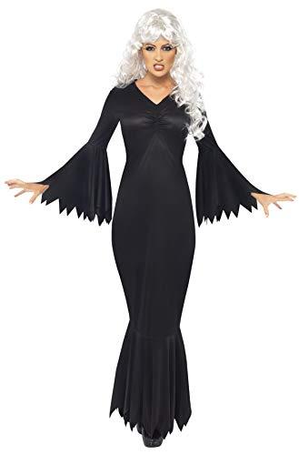 Smiffys-21777M Halloween Disfraz de vampiresa de Medianoche, con túnica, Color Negro, M-EU Tamaño 40-42 (Smiffy