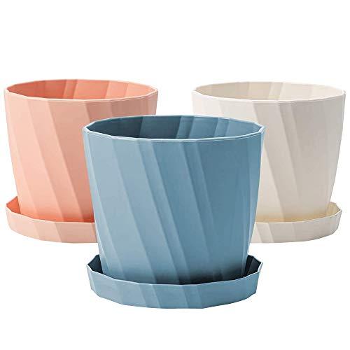 Katigan 3PCS 6.6 Inch Plant Pot Plastic Planter Colorful Succulent Pots, Plant Pots with Drainage Holes Pot for Indoor Outdoor