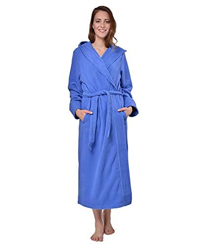 RAIKOU Damen Bademantel, Morgenmantel, Saunamantel mit Kapuze, Malibu super flauschig und weich alle Größen (Royal Blau,52/54)