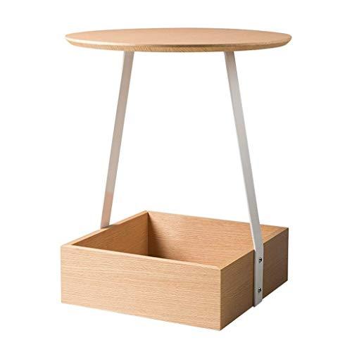 Home Beistelltisch Deskround Holz Beistelltisch mit Aufbewahrungsbox Homeiving Room Schlafzimmer Einfache Möbel, BOSS LV