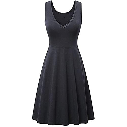 N\P Vestido de verano de las mujeres Color sin mangas Vestidos, a, M