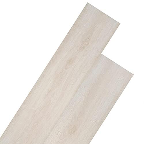 vidaXL Listoni per Pavimentazione in PVC 5,26 m² 2 mm Bianco Rovere Pannelli