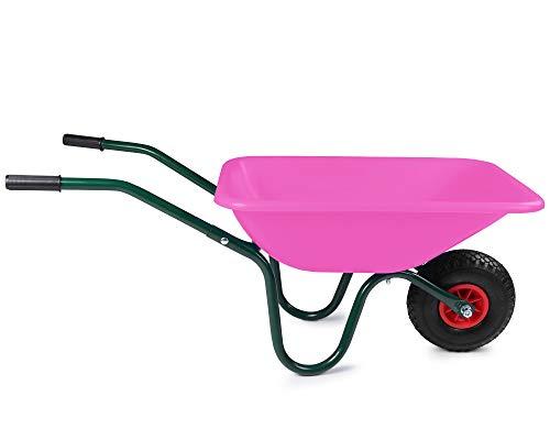 Ondis24 Schubkarre für Kinder vollwertige Gartenkarre mit Luftrad und Metallgestänge 40 Liter (Rosa)