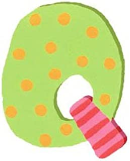 Wooden Letter - Q - Pastel Green with Dots