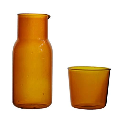 Cabilock Jarra de Agua de Vidrio con Vaso de Vidrio Botella de Enjuague Bucal Jarra de Vidrio Jarra de Café para Agua Jugo Vino Resistente Al Calor Y Al Frío 500Ml