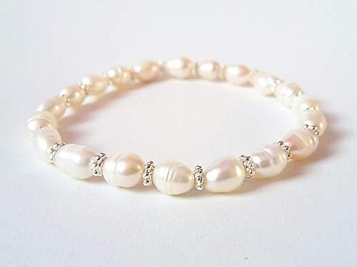 Bracciale Perla di Fiume Lunga Donna con Separatori, Elastico 19 cm, Fatto a Mano, Pietre Dure Naturali