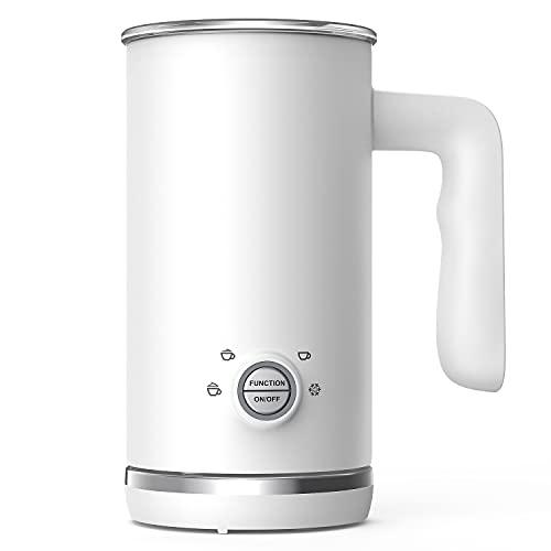 Milchaufschäumer, 4 in 1 Automatischer Milchschäumer und Dampfgarer, 300ml Kalt-Heiß-Milchaufschäumer & Wärmer für Latte Cappuccino, Mode Weiß