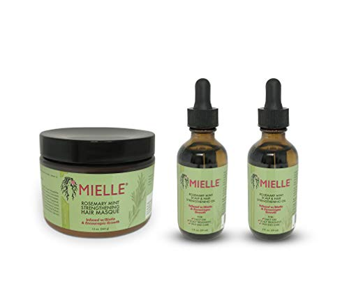 Mielle Organics Rosemary Mint Growth Oil 2 oz (Pack of 2),and Strengthening Hair Masque 12 oz,Sulfate and Paraben Free,For daily haircare and scalp treatments