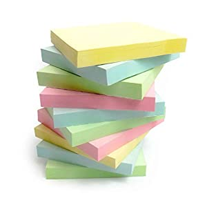 EVG 1200Qualité Pastel assortis de couleur amovible Sticky Notes 76x 76mm 12blocs de 100emballés individuellement–FBA