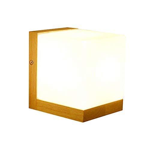 Injuicy Beleuchtung Loft Modern E27 Edison LED Wandlampe Licht Holz & Glas Lampeschirm Würfel Wandleuchten Lampe