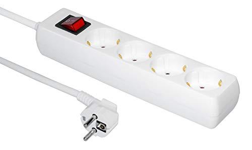 Steckdosenleiste 4-Fach (Mehrfachsteckdose mit Schalter zum Stromsparen, Steckplätze 45 Grad gedreht, Kabel 10m,) weiß