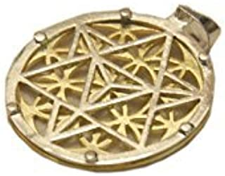 A++ Round Metal Pendant JI10 Copper Silver Gold Plated Triple Layer Egyptian Eye Flower of Life Pentacle