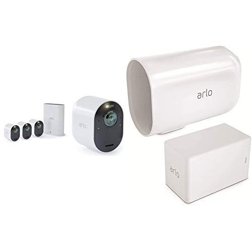Arlo Ultra Smart Home Überwachungskamera 4er Set und XL Akku Bundle - weiß