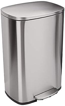Amazon Basics Rectangle Soft-Close Trash Can - 50L, Satin Nickel