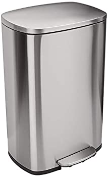Amazon Basics 50 Liter / 13.2 Gallon Soft-Close Trash Can with Foot Pedal - Stainless Steel Satin Nickel Finish