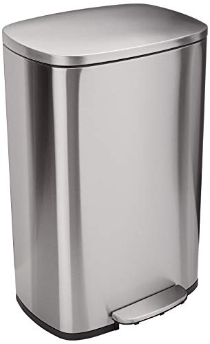 AmazonBasics Rectangle Soft-Close Trash Can - 50L, Satin Nickel