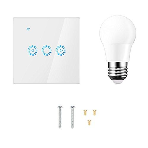 FORNORM Wifi Smart Lichtschalter mit eWeLink Fernbedienung E27 LED Birne mit Amazon Alexa/Google Home, Timing Funktion AC 90-250V für Android iOS, Weiß