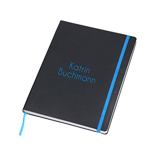 Personalisiertes Notizbuch A5 Kariert mit Namen 80 Seiten Tagebuch Personalisiert mit Wunschtext durch Farbige Lasergravur (Schwarz-Blau)