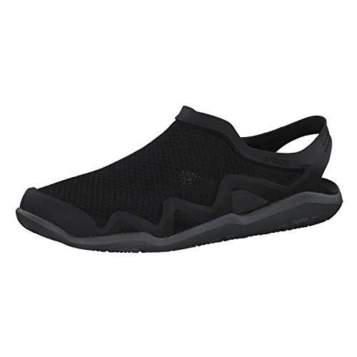 Crocs Men's Swiftwater Mesh Wave Sandals Water Shoe, Black/Slate Grey, 9