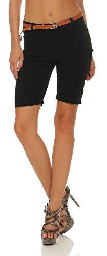 Damen Chino Shorts Kurze Hose Bermuda Pants mit Gürtel (635), Farbe:Schwarz, Grösse:XL / 42