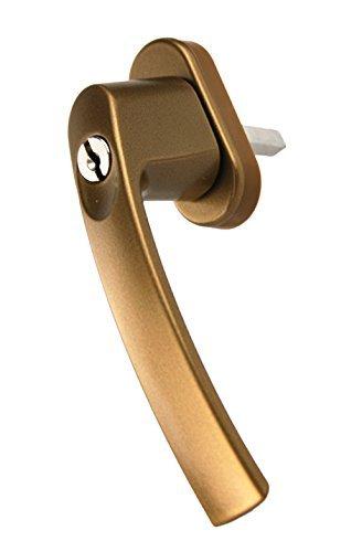 MS Beschläge ® Fenstergriff Rasterolive abschließbar mit zwei Schlüssel in verschiedenen Farben (Gold)