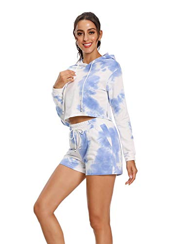 Milu deer Señoras 2 Piezas Fitness Traje Tie-Tinte Impreso Casual Sudadera Sudadera, Material Super Suave Suave Material Suplido Sportswear (Color : Blue, Size : -L)