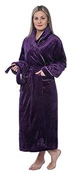 Women s Plus Size Plush Soft Warm Fleece Long Bathrobe Robe PR07 Purple 4X