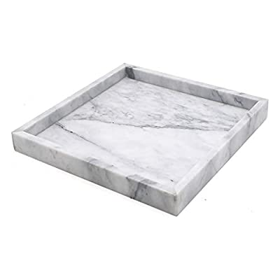 """LUANT Marble Stone Decorative Tray for Counter, Vanity, Dresser, Nightstand, or Desk, Dimension 9-7/8"""" 9-7/8"""""""