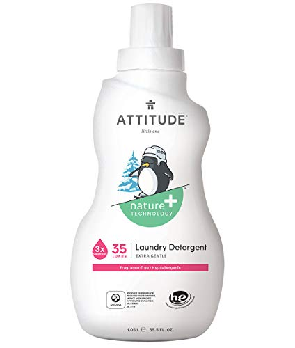ATTITUDE Natural Laundry Detergent for Baby, Newborn or Infant, Hypoallergenic, Fragrance Free, 35.5 Fl Oz, 35 Loads