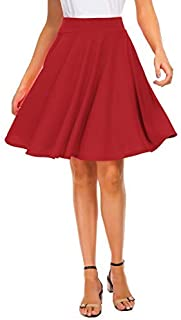 تنورة صغيرة منفرجة ذات خصر متمدد للنساء من اكس شيك تنانير مطوية كاجوال