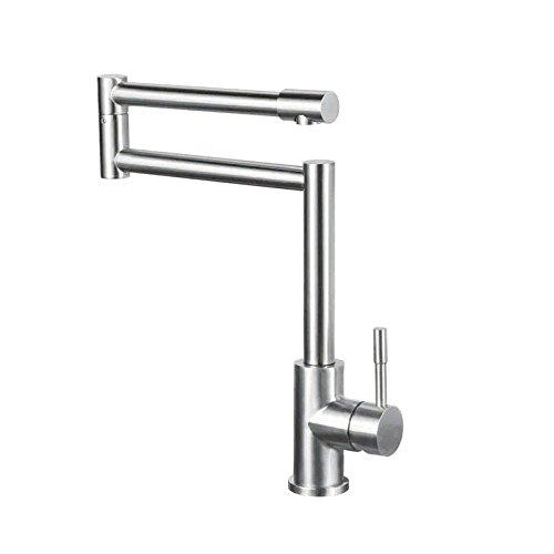 JinYuZe Stainless Steel Swing Arm Kitchen Faucet 1 Lever Deck Mount Retractable Pot Filler Kitchen Faucet,Brushed Nickel