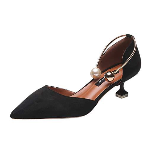 Sayla Sandalias para Mujer Verano 2019 Moda Sexy Casual Tacon Plataforma Tacones Finos Anillo De Perlas Zapatos Casuales Sandalias Individuales Vestir Feast
